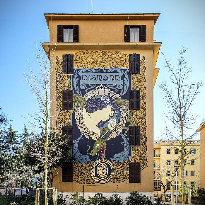 "Street Art Roma - Diamond, ""Hic Sunt Adamantes"", Tor Marancia"