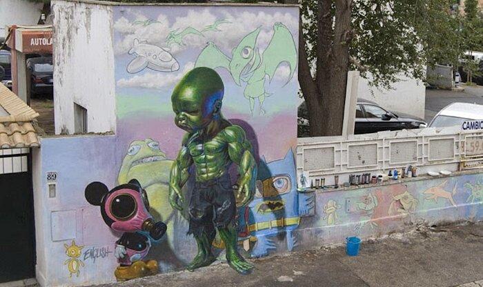 Street Art Roma - Ron English, via dei Pisoni