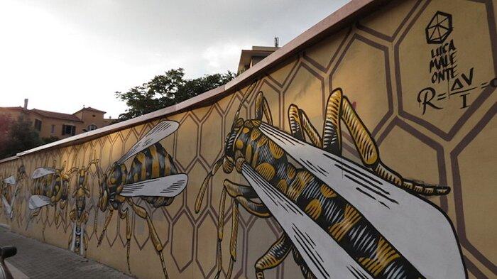 """Street Art Roma - Lucamaleonte, """"Nido di Vespe"""", via del Monte del Grano"""