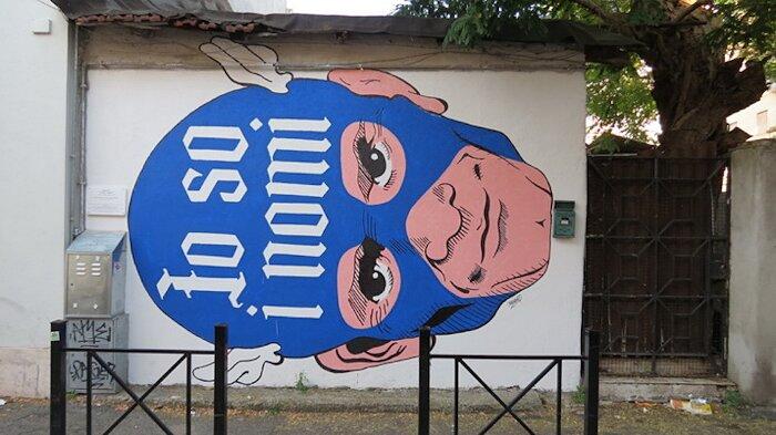 """Street Art Roma - Omino71, """"Io so i nomi"""", via Fanfulla da Lodi"""