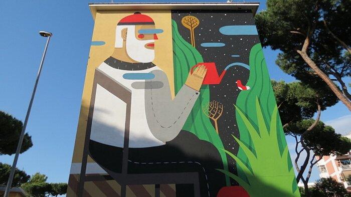 "Street Art Roma - Agostino Iacurci, ""The Blind Wall"", via Osimo"