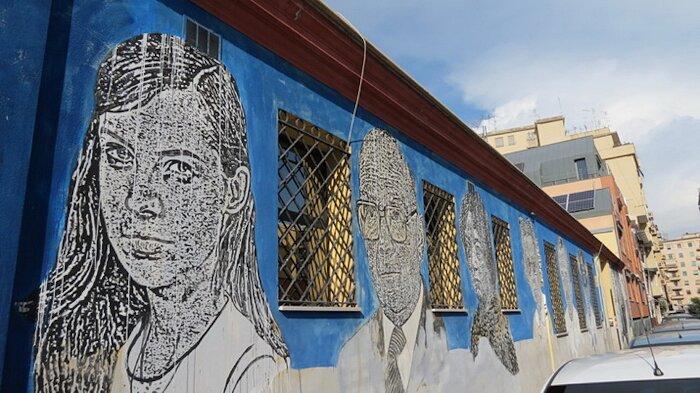 "Street Art Roma - Sten Lex, ""Black and White Power"", via dei Magazzini Generali"