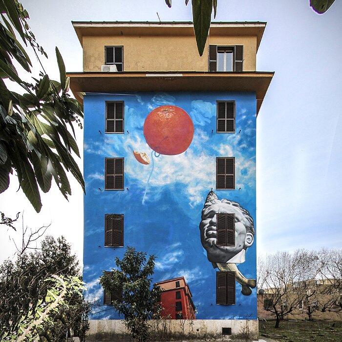 """Street Art Roma - Gaia, """"Spettacolo, Rinnovamento, Maturità"""", Tor Marancia"""
