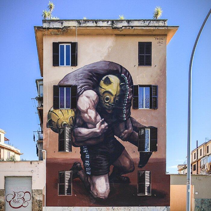 """Street Art Roma - Jaz, """"Il Peso Della Storia"""", Tor Marancia"""