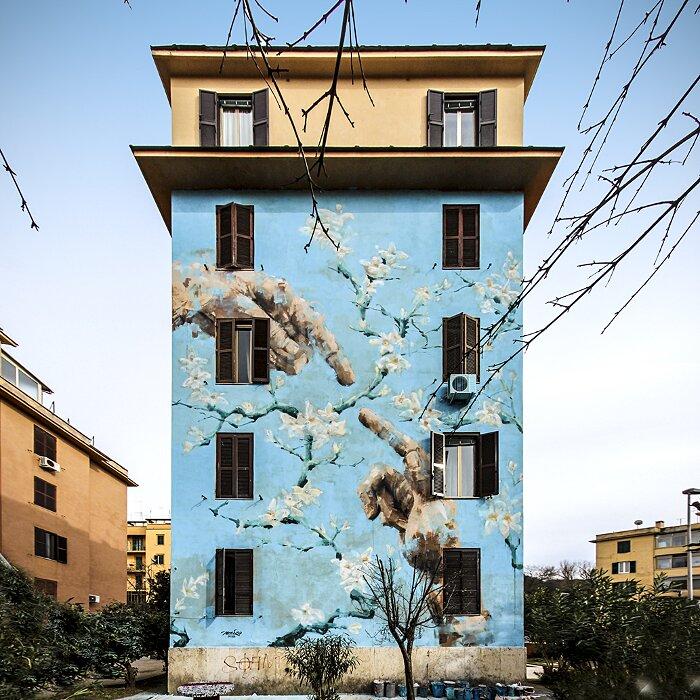 "Street Art Roma - Jerico, ""Distanza Uomo Natura"", Tor Marancia"