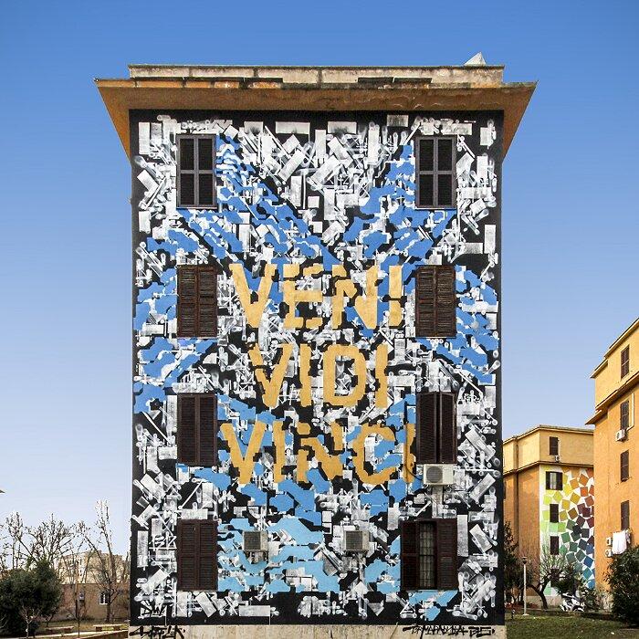 "Street Art Roma - Lek & Sowat, ""Veni Vidi Vinci"", Tor Marancia"