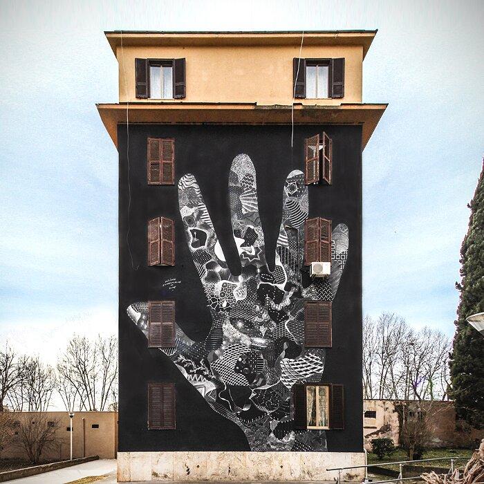 "Street Art Roma - Philippe Baudelocque, ""Elisabetta"", Tor Marancia"