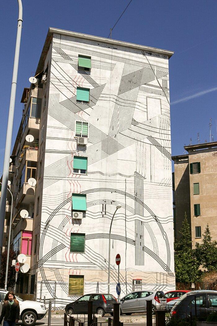 """Street Art Roma - Sten Lex, """"Paesaggio astratto"""", Garbatella"""