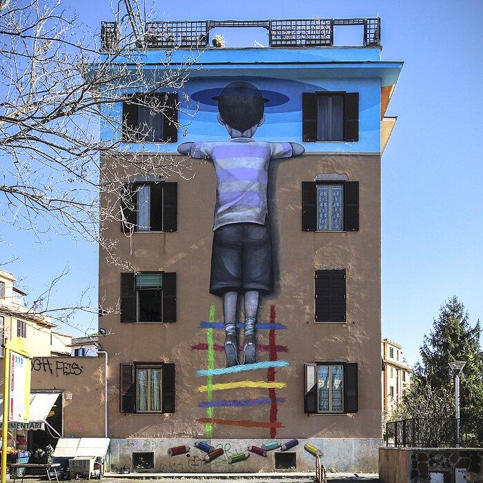 "Street Art Roma - Seth, ""Il Bambino Redentore"", Tor Marancia"