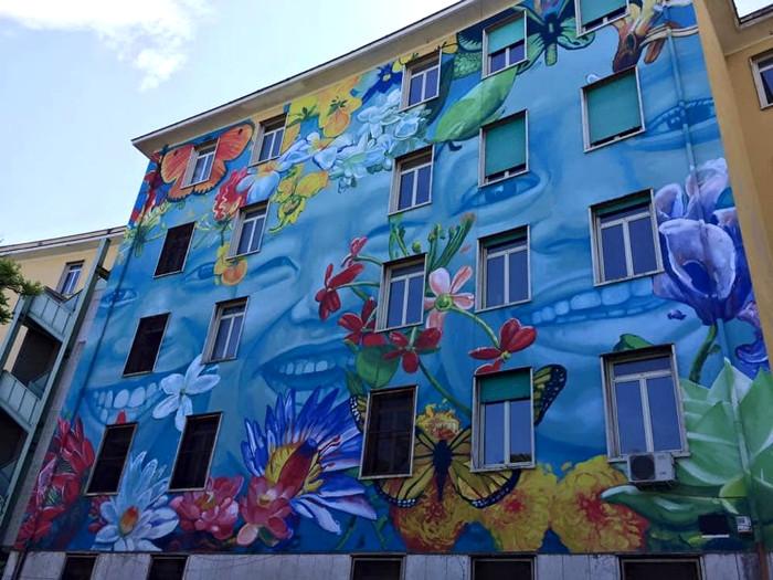 Street Art Roma - Gaia, facciata del Liceo Caravaggio, Tor Marancia