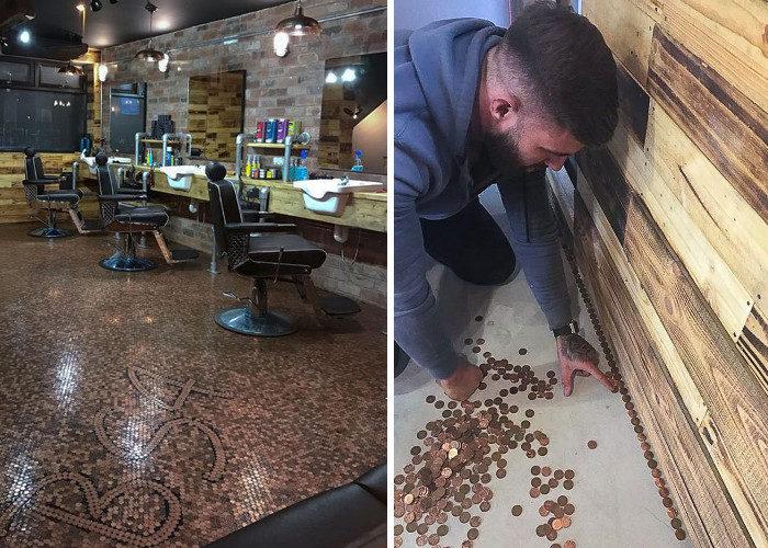 Il preventivo per il pavimento è troppo alto, così questo barbiere lo fa da se ricoprendolo con 70.000 penny