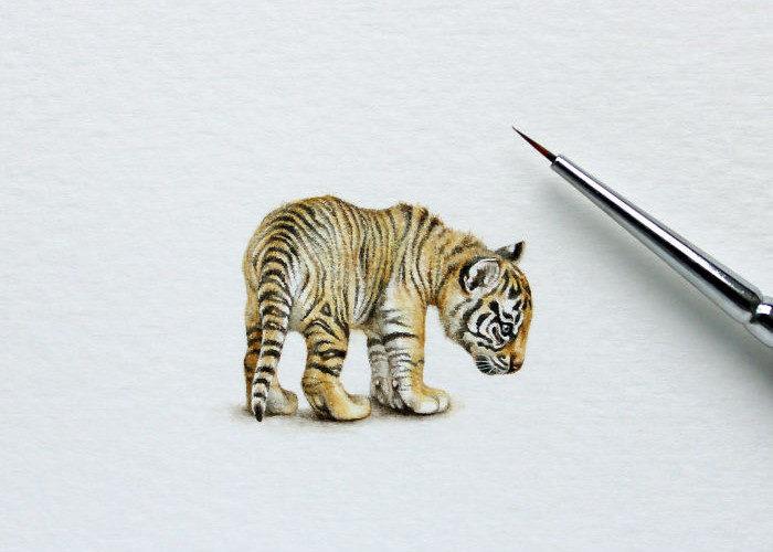 Piccoli animali in miniatura dipinti ad acquerello