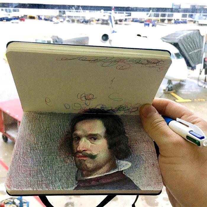 Schizzi realistici fatti con penne a sfera da Nicolas V. Sanchez