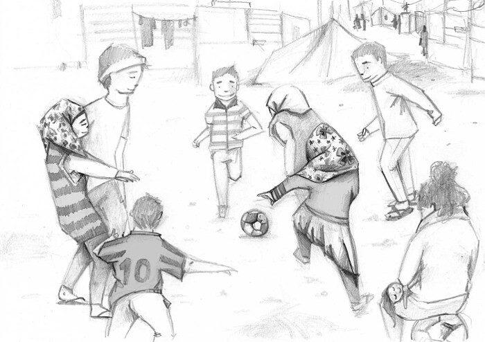 illustrazioni-bambini-profughi-ue-Football-Mariajose-Gajate-Molina-Spain