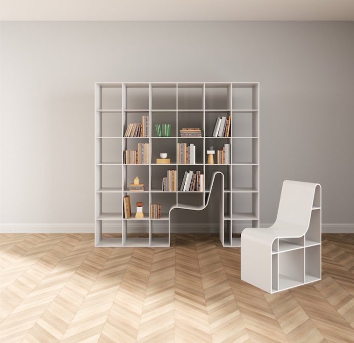 Libreria Sedia Incorporata Design Sou Fujimoto