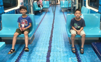 I vagoni della metro di Taipei decorati per simulare i vari sport in competizione alla Summer Universiade 2017