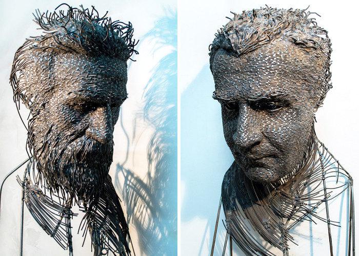 Sculture frammentate di volti in filo metallico catturano la complessità dell'uomo