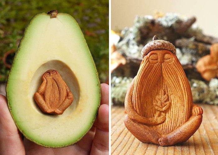 Artista trasforma i semi di avocado in magiche creature in miniatura