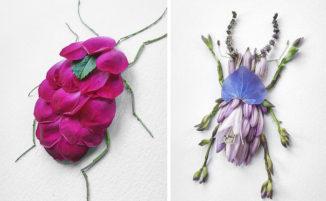 Artista trasforma fiori e foglie in coloratissimi insetti