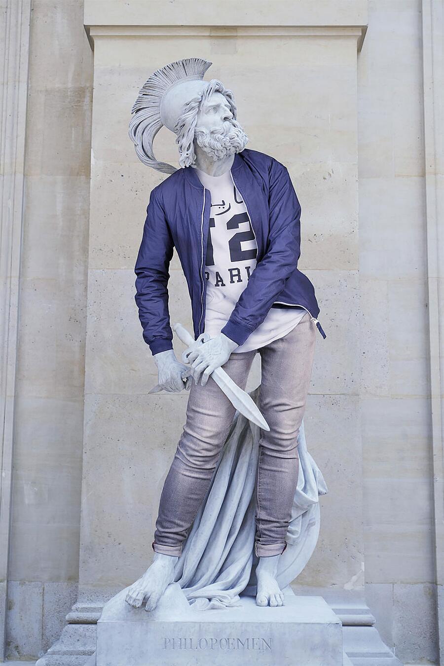 Statue Classiche Vestite Come Hipster Léo Caillard Hipsters in stone