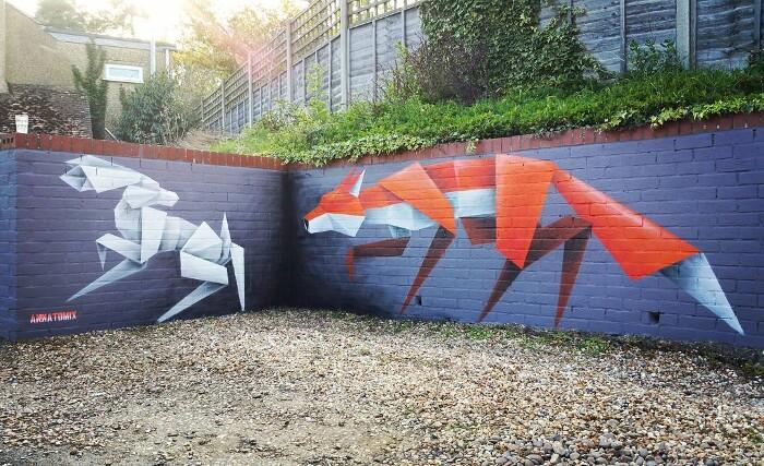 Street Art Animali Origami Annatomix