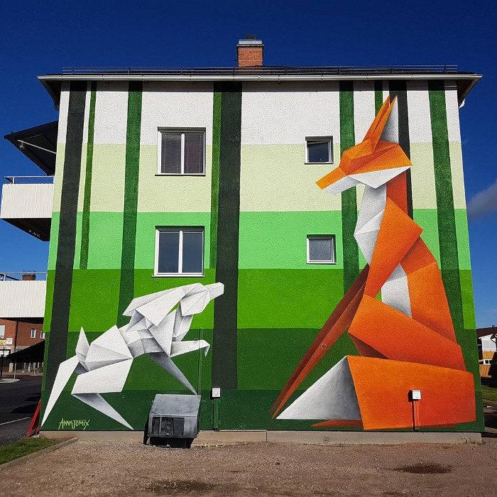 Origami e street art nei murales di Annatomix