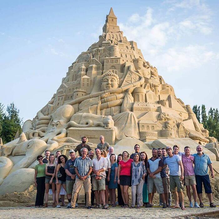 Il castello di sabbia più alto del mondo a Duisburg, Germania