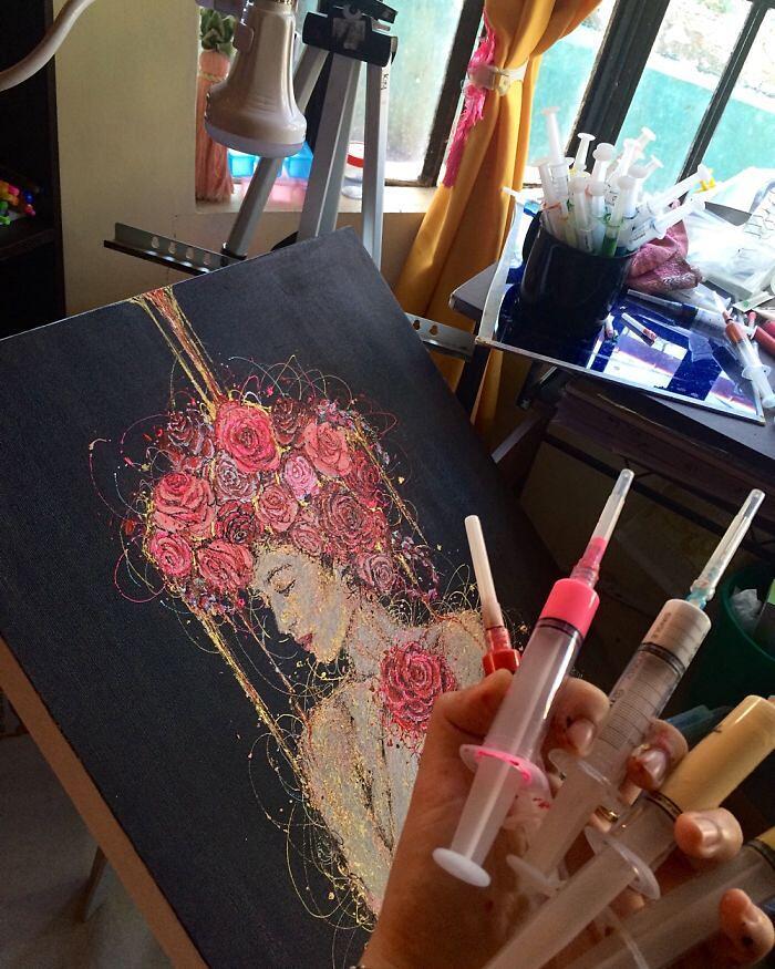 Infermiera Dipinge Usando Siringhe Kimberly Joy Mallo Magbanua
