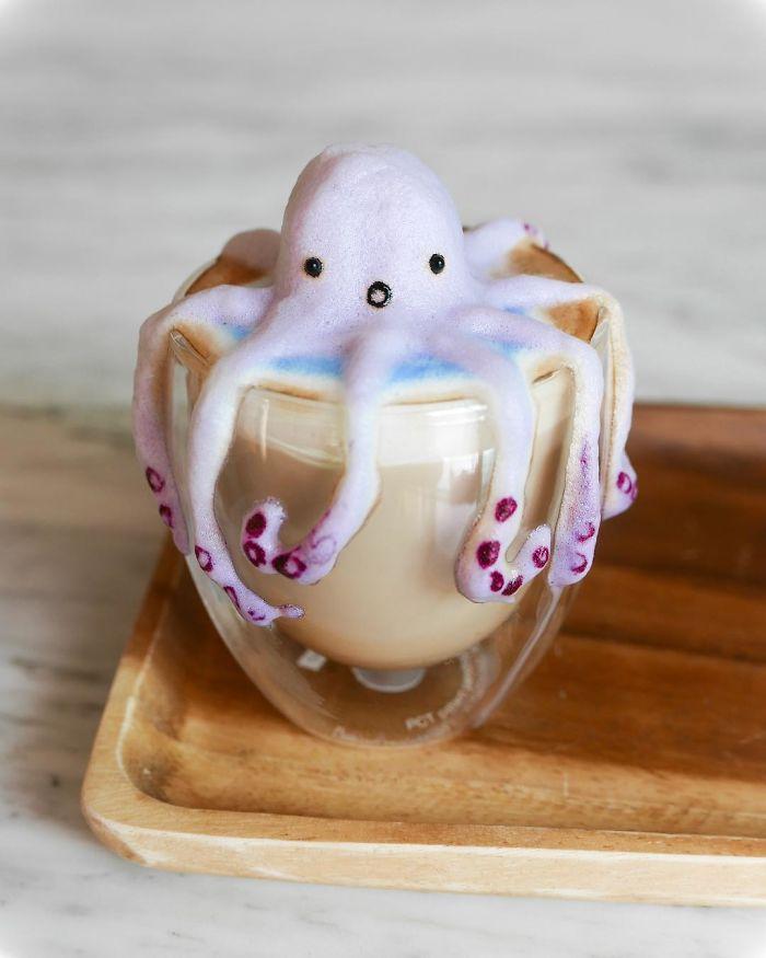 Arte e Decorazioni Sul Cappuccino Tridimensionale Daphne Tan