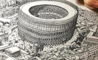 Disegni architettonici dettagliatissimi in omaggio all'arte di M.C. Escher