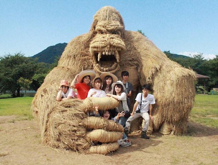 Sculture Animali Di Paglia Wara Art Festival Niigata Giappone