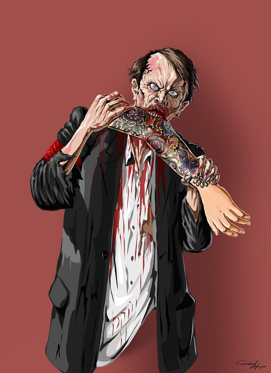 Illustrazioni Satiriche Società Zombies Gunduz Aghayev