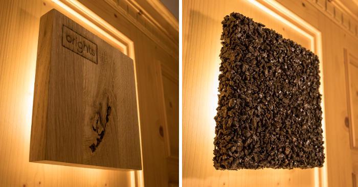 Lampade a muro personalizzabili in legno o pietra che si adattano