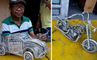 Questo signore di 53 anni realizza bellissimi modellini di auto e motociclette con fili di metallo