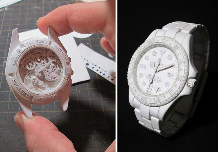 Artista giapponese riproduce famosi orologi utilizzando carta e colla