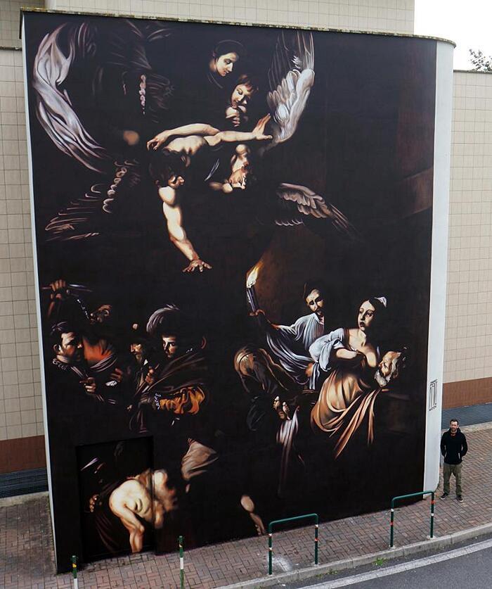 Caravaggio Murales Policlinico Gemelli Roma Andrea Ravo Mattoni