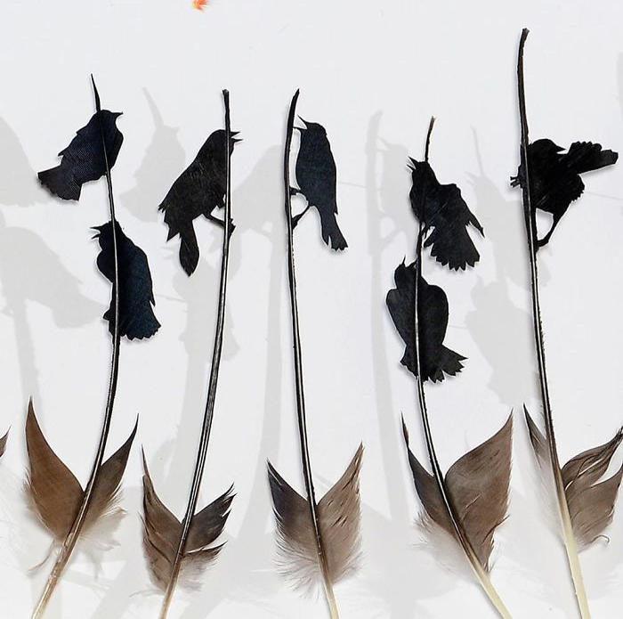 Scene di uccelli realizzate con piume intagliate