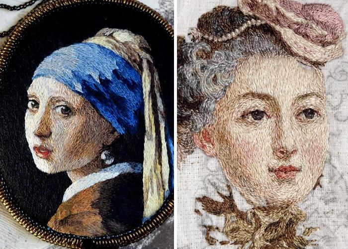 Artista ricama alla perfezione ritratti rinascimentali