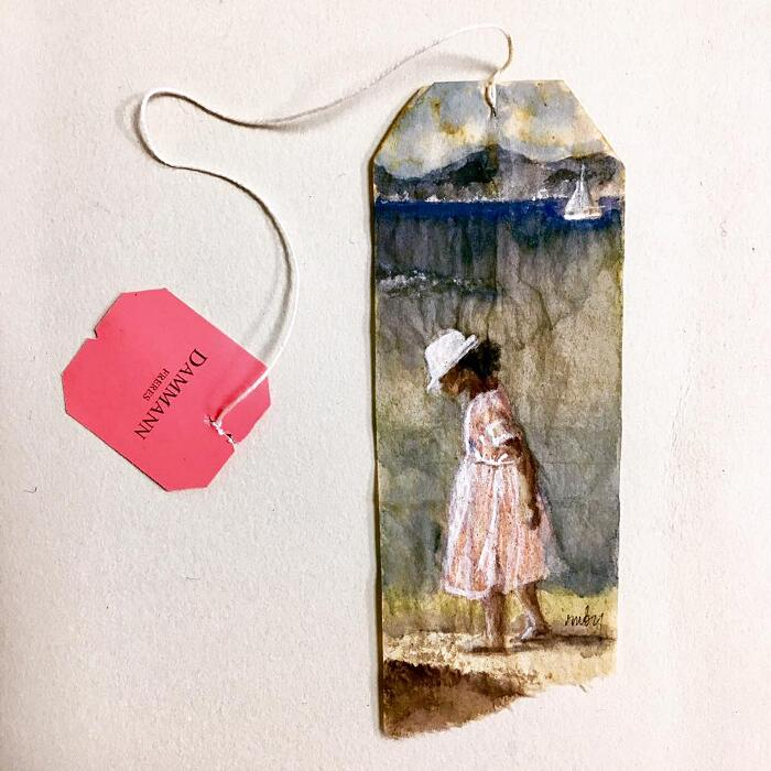 Dipinti In Miniatura Su Bustine Del Tè Ruby Silvious