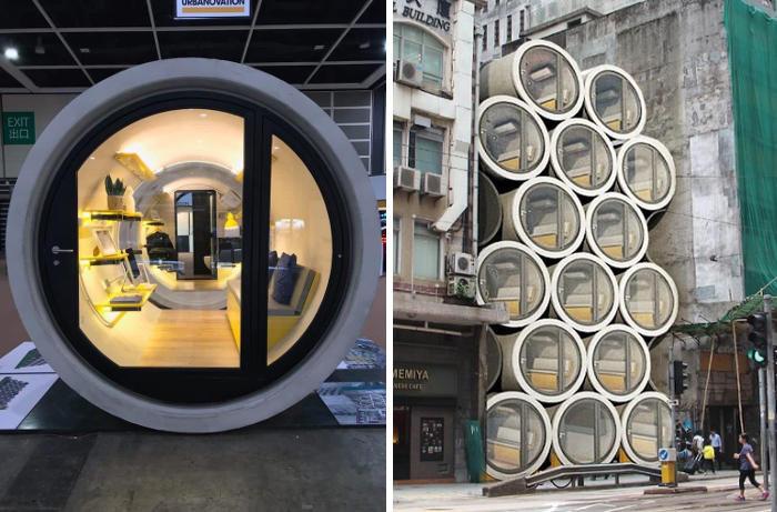 Micro appartamenti per due dentro tubi dell'acqua riciclati