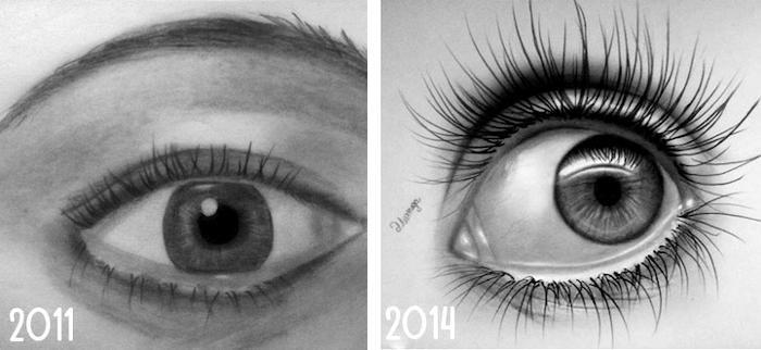 Artisti mostrano il prima e dopo delle loro creazioni a distanza di anni e di pratica