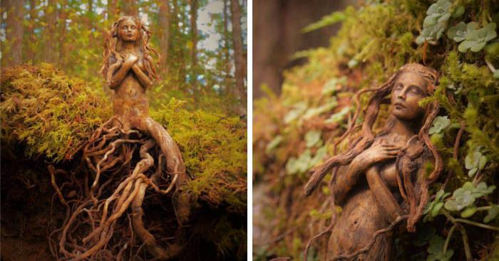 Artista crea incredibili sculture surreali con il legno portato a riva dall'oceano