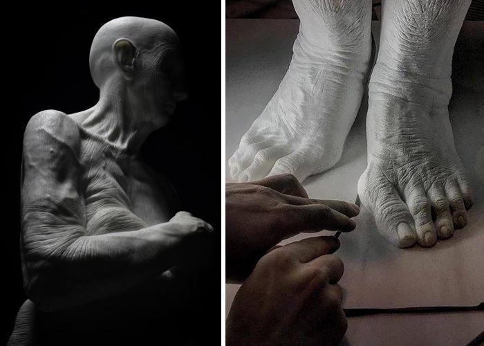 Scultore italiano autodidatta realizza maestose sculture di marmo