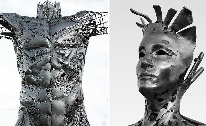Bellissime sculture di metallo rendono omaggio alle emozioni e alla forza umana