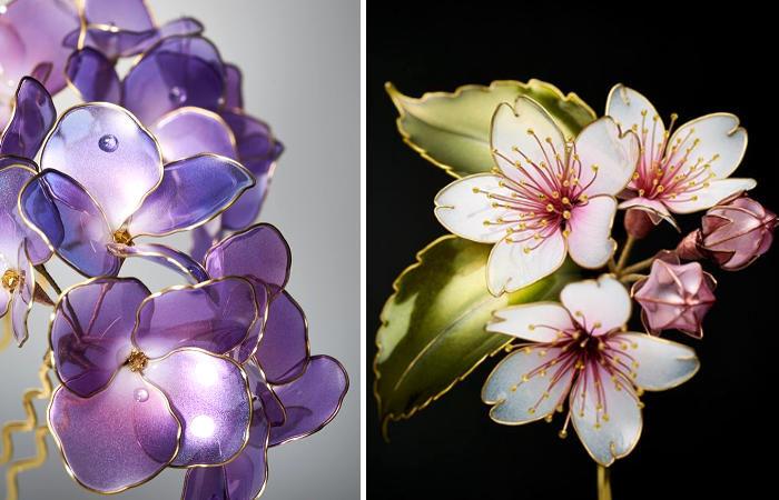 Artista giapponese crea accessori per capelli che sembrano delicati fiori