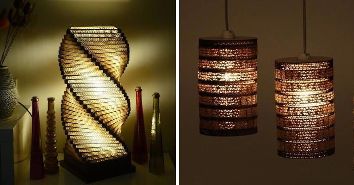 Lampade artigianali in cartone riciclato dal design davvero unico