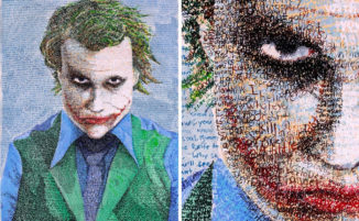 Artista spende centinaia di ore per creare ritratti composti da testo scritto a mano