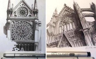 Schizzi di chiese e monumenti europei realizzati ad inchiostro da Lorenzo Concas