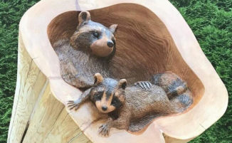 Artista scolpisce tronchi caduti in adorabili animali della foresta