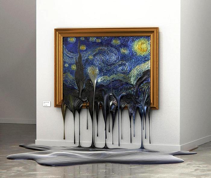 Artista immagina i capolavori dell'arte che si sciolgono come neve al sole